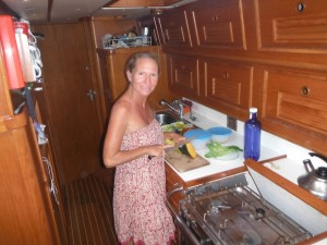 Me in the galley. Fresh produce - Great