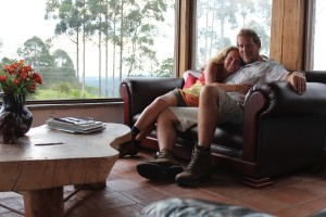 Us in our lovely lounge with a 360 degree view of the valleys around us. A great place to stay for $35 a night.