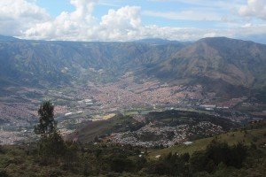 The amazing view of Medellin up on the cable car.
