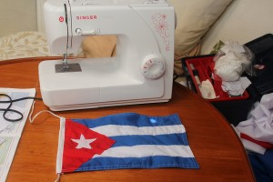 I got busy making the Cuban flag before we left the marina