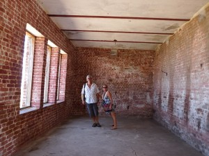Thomas and me in the Giddy house at the fort. It fell over to one side during an earthquake