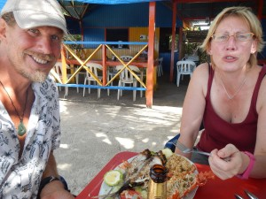 Thomas and Dagmar's seafood lunch at Divine Nino. Everyone in the world who loves seafood should try this beach restaurant