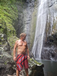 Thomas at the waterfall on Fata Hiva