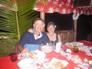 Jack and Jan enjoying a tropical setting at Valentine's restaurant. I got to take my own dinner - vegetarian was not on the menu