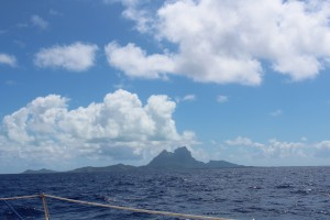 The outline of Bora Bora on the sail over.