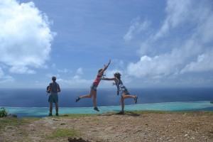 Me saving Claudia from leaping off on the top of Raiatea. It was a beautiful view.